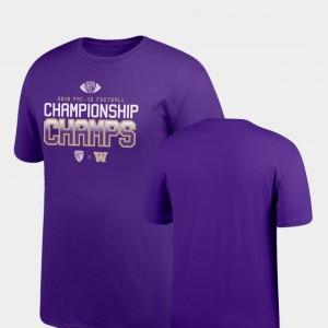 College T-Shirt For Men's Locker Room Big & Tall Washington Purple 2018 PAC-12 Football Champions