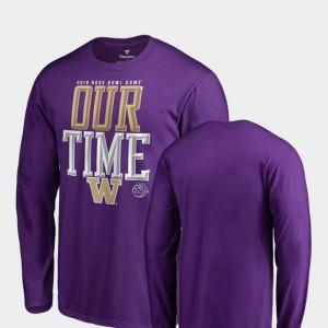 University of Washington College T-Shirt Men Purple Counter Long Sleeve 2019 Rose Bowl Bound