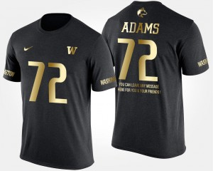 Black Men #72 Washington Huskies Gold Limited Trey Adams College T-Shirt Short Sleeve With Message