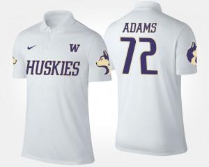 For Men's #72 Trey Adams College Polo White Washington Huskies
