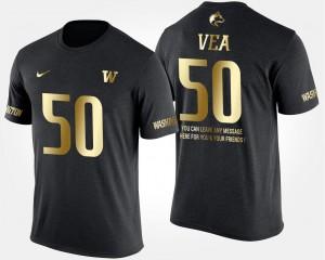 Men's Short Sleeve With Message Gold Limited Vita Vea College T-Shirt #50 Black University of Washington