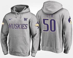 #50 Vita Vea College Hoodie UW Huskies For Men's Gray