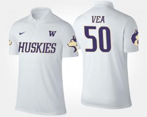 For Men #50 University of Washington Vita Vea College Polo White