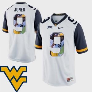 WVU Football Pictorial Fashion White Men's #9 Adam Jones College Jersey