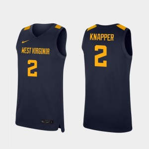 For Men Basketball Navy Brandon Knapper College Jersey Mountaineers #2 Replica