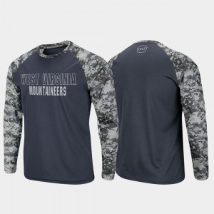 Raglan Long Sleeve Digi Camo West Virginia Mountaineers Charcoal Camo College T-Shirt OHT Military Appreciation Men's