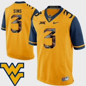 WVU #3 Football Charles Sims College Jersey Pictorial Fashion Men Gold