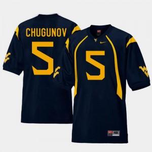 Replica For Men's Chris Chugunov College Jersey WV #5 Football Navy