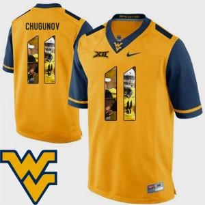 Chris Chugunov College Jersey Football Pictorial Fashion Men's WV Gold #11