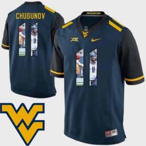 Chris Chugunov College Jersey Men's Pictorial Fashion WV #11 Navy Football