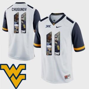 Football #11 Men's Pictorial Fashion Mountaineers White Chris Chugunov College Jersey