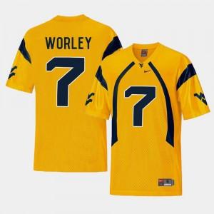 West Virginia University Replica Daryl Worley College Jersey Football Gold #7 Men