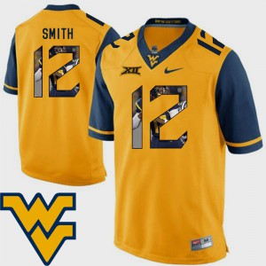 Football Geno Smith College Jersey #12 Gold Men's Pictorial Fashion WV