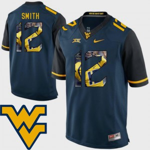 Geno Smith College Jersey Mens Football Pictorial Fashion #12 Navy WV