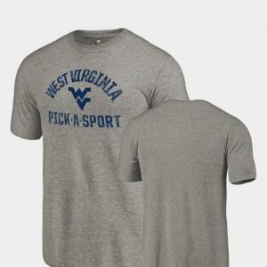 Gray Pick-A-Sport WVU Tri-Blend Distressed College T-Shirt Men's