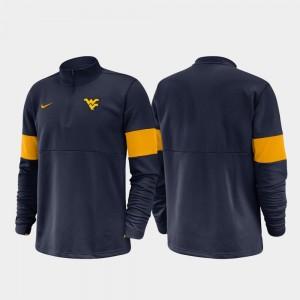 Half-Zip Performance West Virginia Mountaineers College Jacket For Men 2019 Coaches Sideline Navy