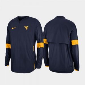 West Virginia University Mens 2019 Coaches Sideline College Jacket Navy Quarter-Zip