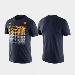 WVU Men's College T-Shirt Navy Fade Performance