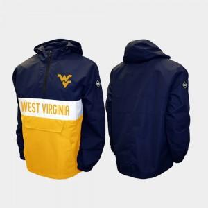Half-Zip College Jacket WVU Men Alpha Anorak Pullover Navy