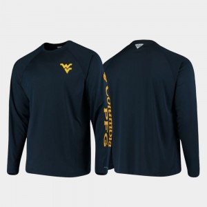 PFG Terminal Tackle Long Sleeve Men Omni-Shade Navy College T-Shirt West Virginia