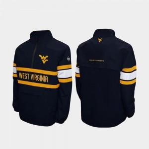 West Virginia Mountaineers Quarter-Zip Navy Alpha Windshell Pullover For Men College Jacket