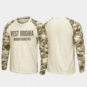 Oatmeal Raglan Long Sleeve Desert Camo College T-Shirt West Virginia Men's OHT Military Appreciation