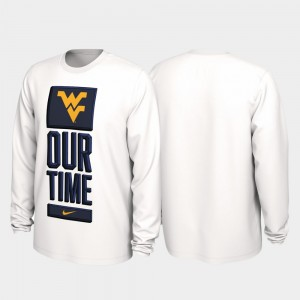Our Time Bench Legend West Virginia Mountaineers College T-Shirt For Men 2020 March Madness White