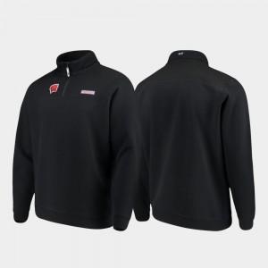 Quarter-Zip Shep Shirt Men College Jacket Black Wisconsin Badgers