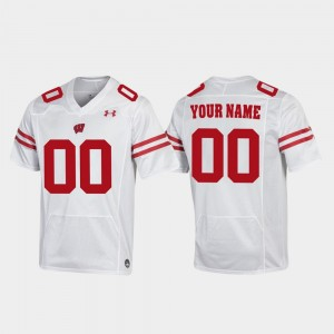 Badgers Replica For Men #00 Football College Customized Jersey White