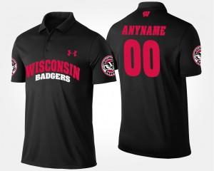 #00 For Men College Custom Polo Black Wisconsin
