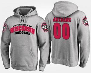 College Custom Hoodies Wisconsin Badger Gray #00 For Men's