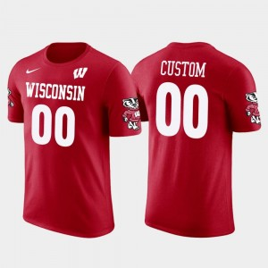 College Custom T-Shirts Wisconsin Badgers Cotton Football #00 Future Stars Red Men's