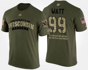 #99 Wisconsin For Men Military Camo Short Sleeve With Message J.J. Watt College T-Shirt