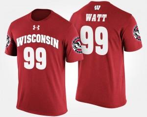 Wisconsin Red J.J. Watt College T-Shirt #99 Mens