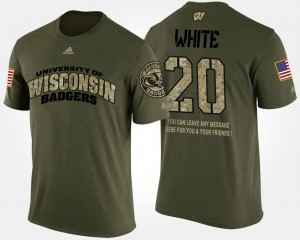 For Men Short Sleeve With Message Camo Badgers #20 James White College T-Shirt Military