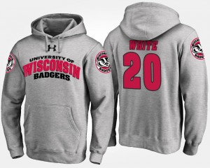 For Men Gray James White College Hoodie Badgers #20