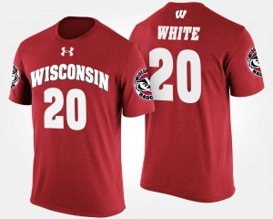 #20 Wisconsin Badgers For Men James White College T-Shirt Red