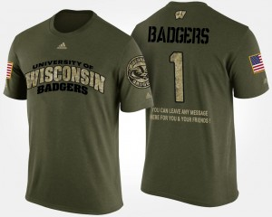 Military College T-Shirt #1 Camo No.1 Short Sleeve With Message For Men's University of Wisconsin
