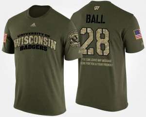 University of Wisconsin Military Camo #28 Short Sleeve With Message Men's Montee Ball College T-Shirt