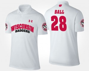 For Men's Montee Ball College Polo Badgers #28 White