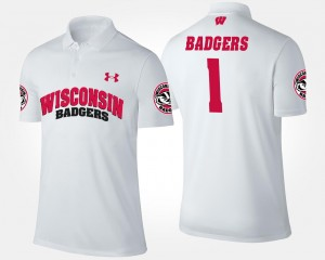 College Polo #1 No.1 Short Sleeve White Wisconsin Badgers For Men