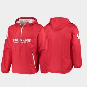 College Jacket Red Half-Zip Base Runner Men's Badger