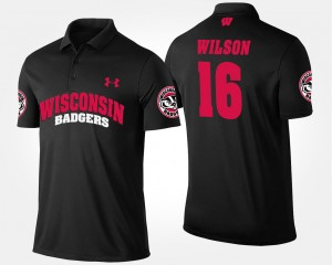 Wisconsin Badger #16 Russell Wilson College Polo For Men's Black