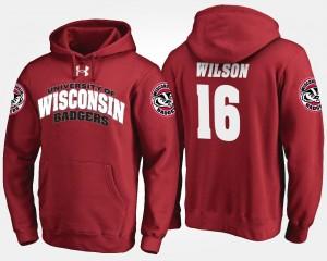 Men's #16 Russell Wilson College Hoodie Badgers Red