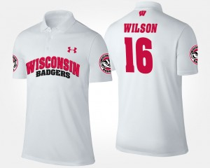 For Men's Wisconsin Badgers Russell Wilson College Polo #16 White