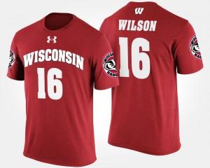 #16 Red Russell Wilson College T-Shirt Wisconsin Badgers Men's