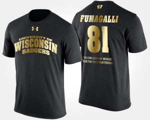 Short Sleeve With Message For Men's Gold Limited Black Troy Fumagalli College T-Shirt Wisconsin #81