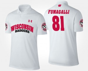 Troy Fumagalli College Polo Wisconsin Badger #81 Men's White