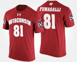 Red Troy Fumagalli College T-Shirt Wisconsin Badger Men #81