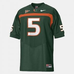 Football Miami Hurricanes Andre Johnson College Jersey #5 Men's Green